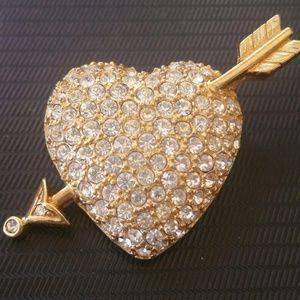 Signed Swarovski Rhinestone Crystal Heart Brooch